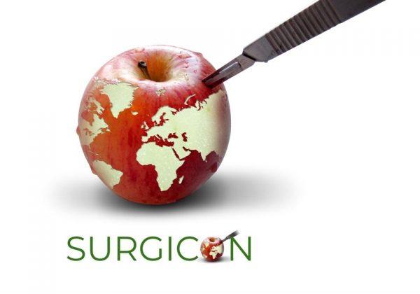 Äpple med Surgicons nya logga